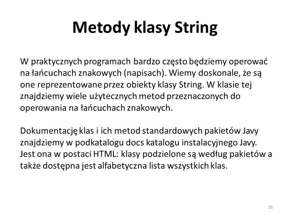 Metody klasy String