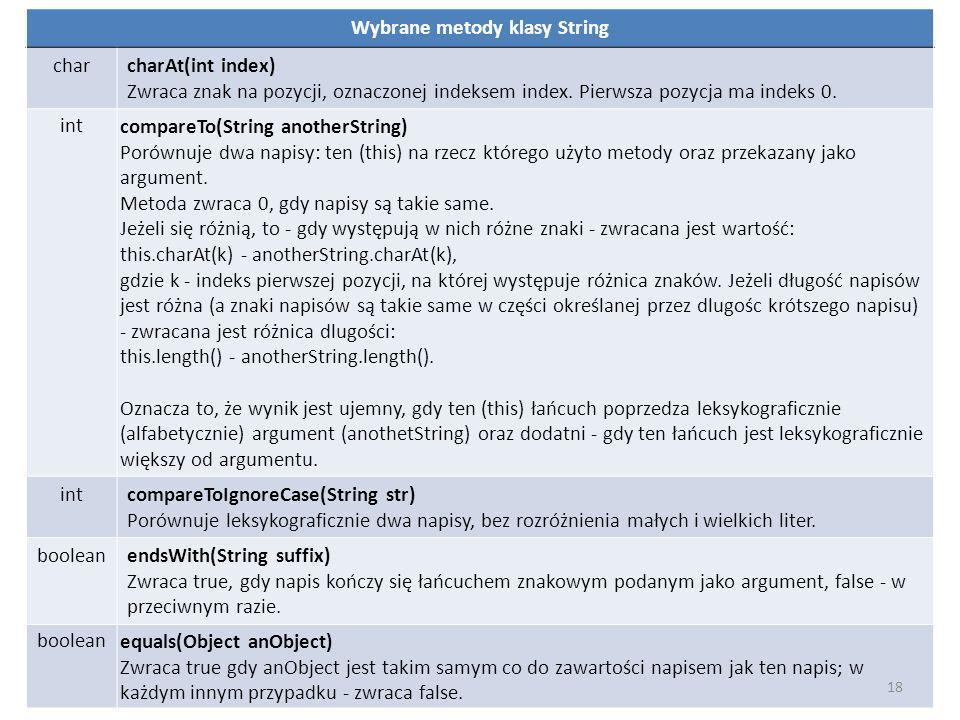 Wybrane metody klasy String