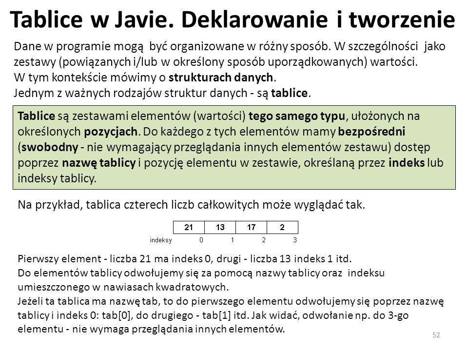 Tablice w Javie. Deklarowanie i tworzenie