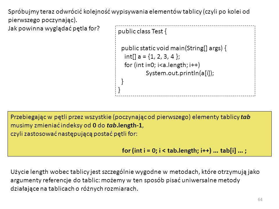 Spróbujmy teraz odwrócić kolejność wypisywania elementów tablicy (czyli po kolei od pierwszego poczynając). Jak powinna wyglądać pętla for