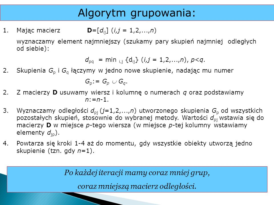 Algorytm grupowania: Po każdej iteracji mamy coraz mniej grup,