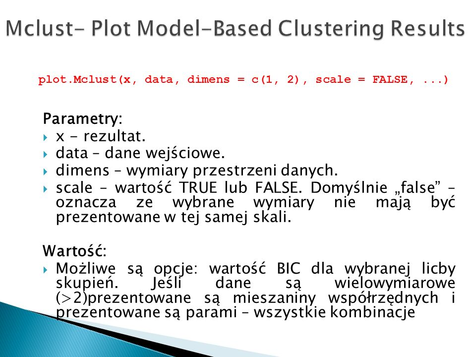 Mclust- Plot Model-Based Clustering Results