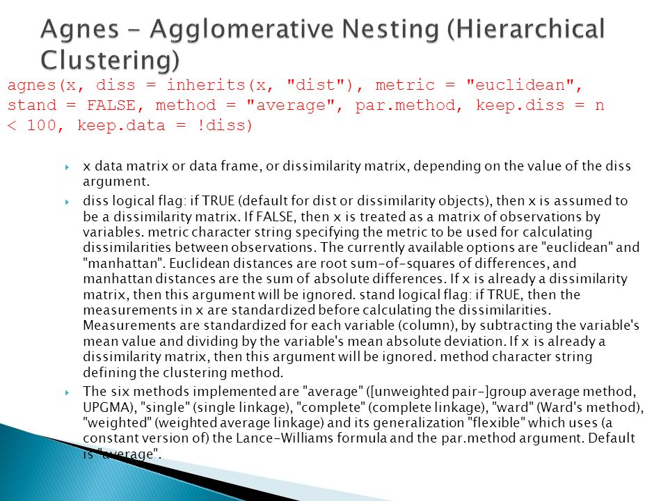 Agnes - Agglomerative Nesting (Hierarchical Clustering)