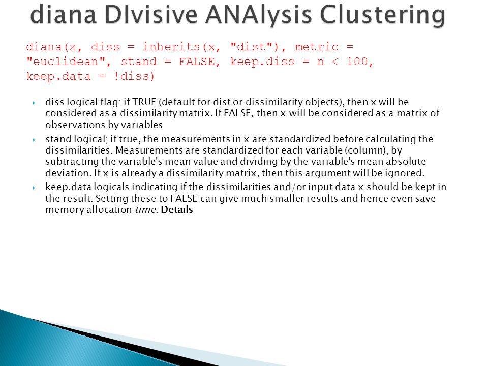 diana DIvisive ANAlysis Clustering