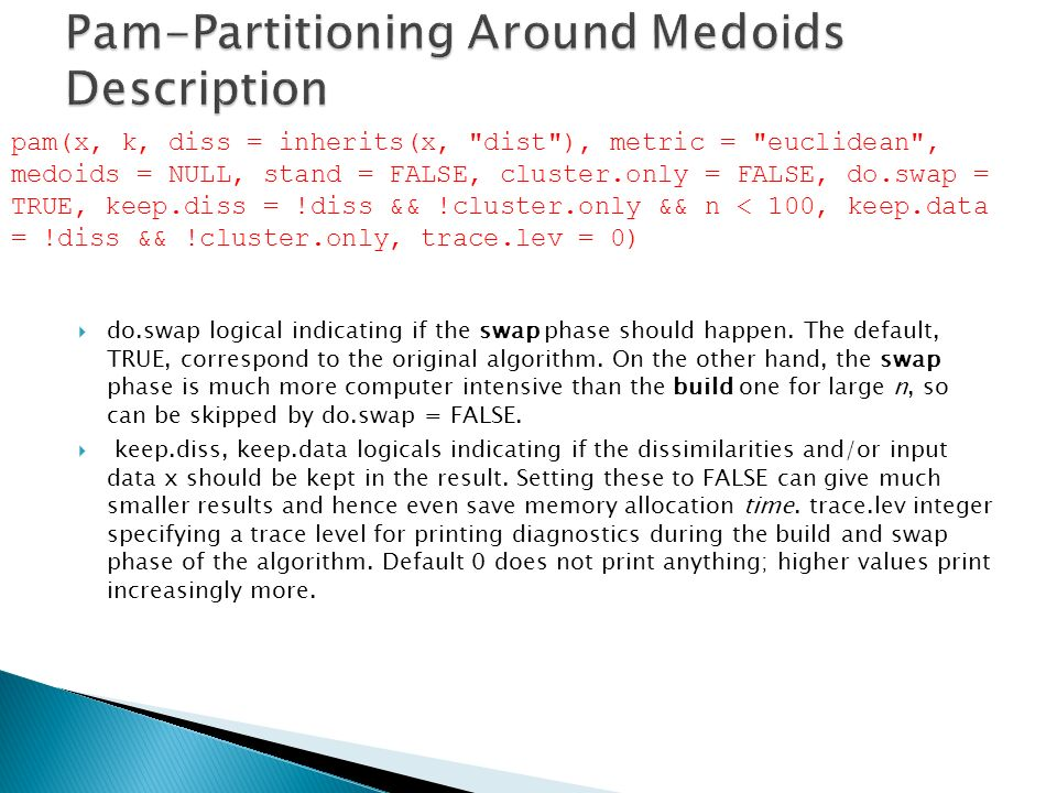 Pam-Partitioning Around Medoids Description