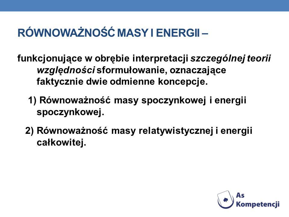 Równoważność masy i energii –