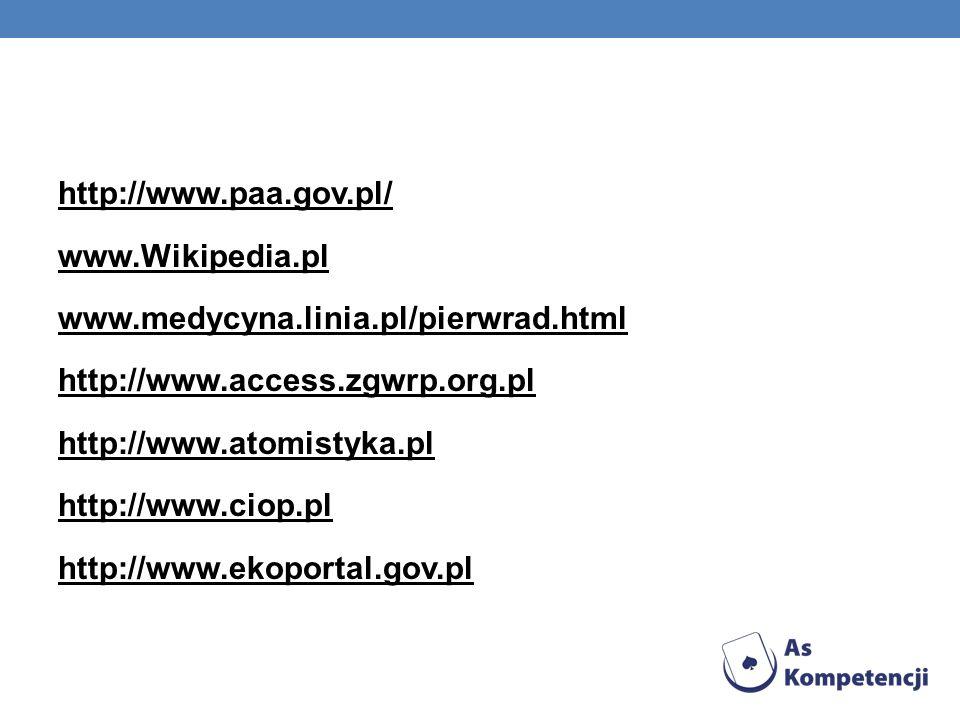 http://www. paa. gov. pl/ www. Wikipedia. pl www. medycyna. linia