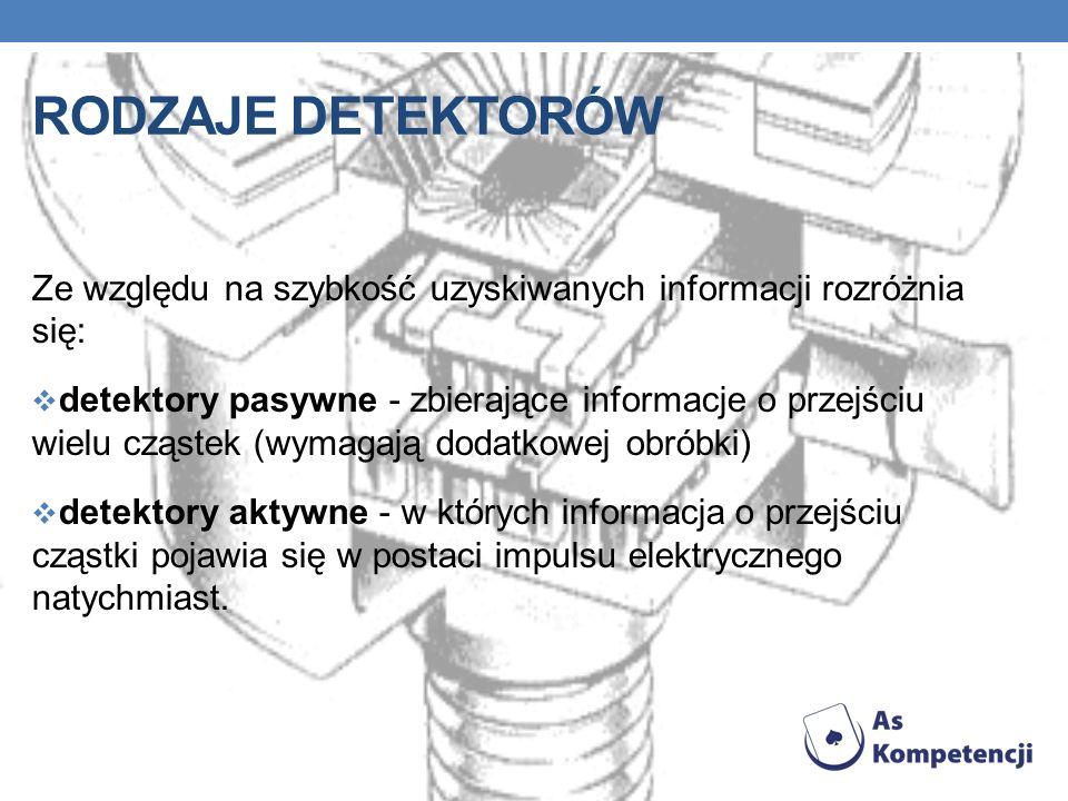 Rodzaje detektorów Ze względu na szybkość uzyskiwanych informacji rozróżnia się: