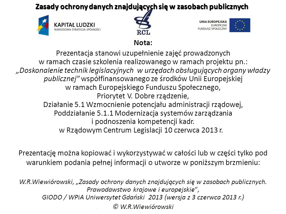 Zasady ochrony danych znajdujących się w zasobach publicznych