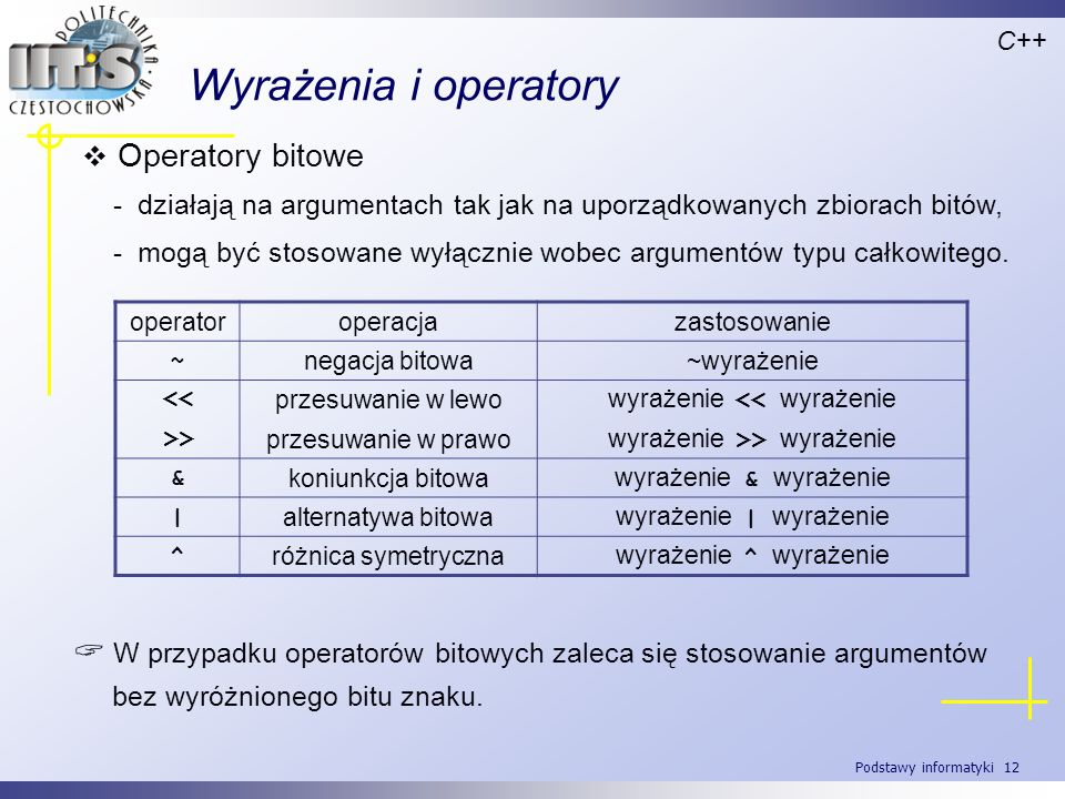 Wyrażenia i operatory Operatory bitowe