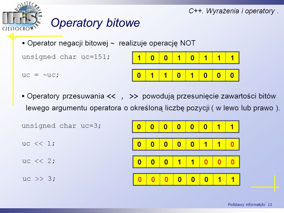 Operatory bitowe Operator negacji bitowej ~ realizuje operację NOT