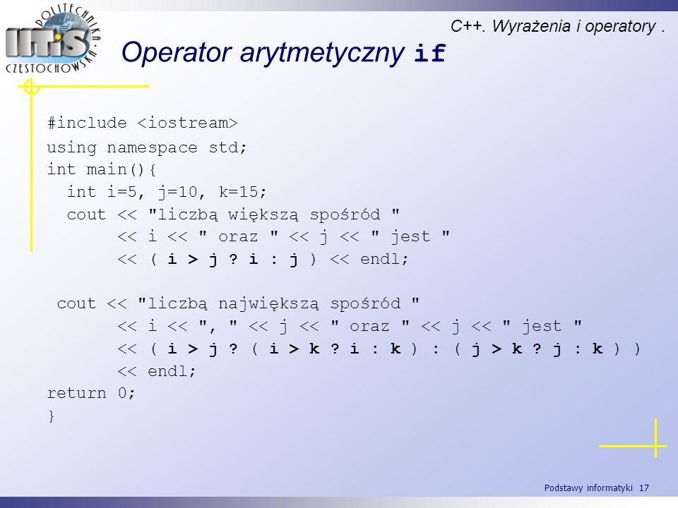Operator arytmetyczny if