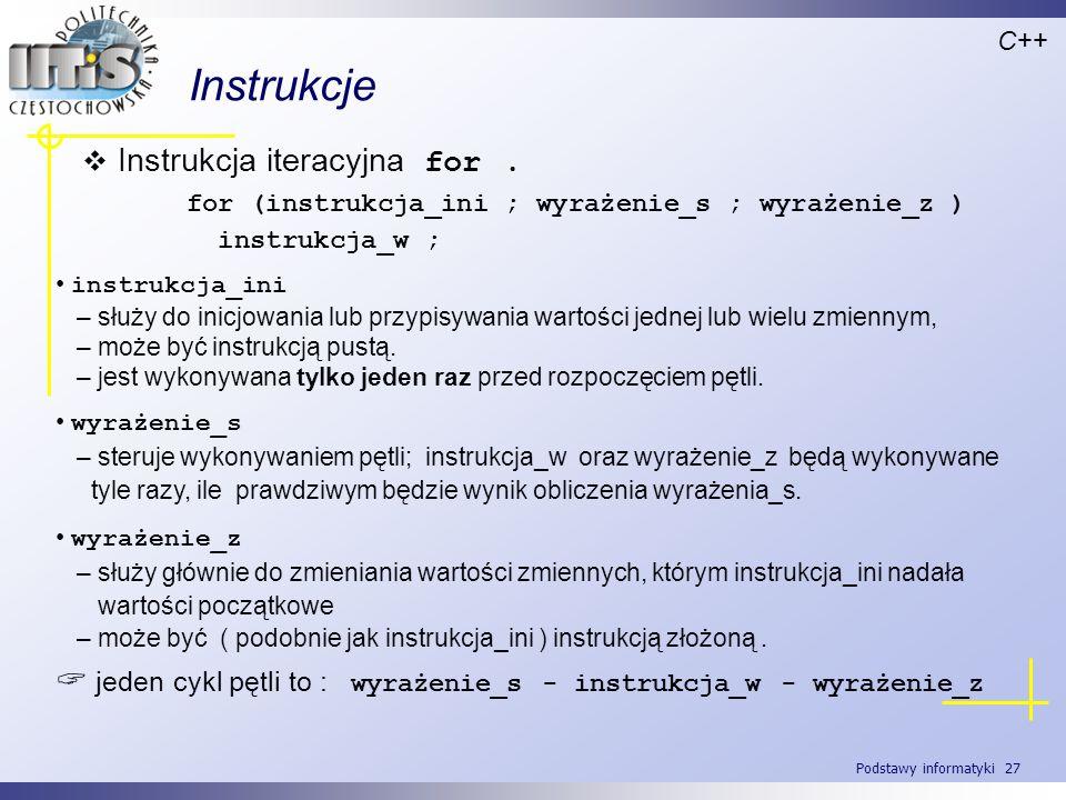Instrukcje Instrukcja iteracyjna for .