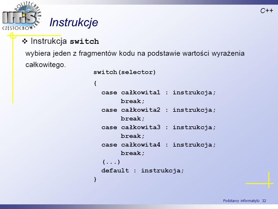 Instrukcje Instrukcja switch