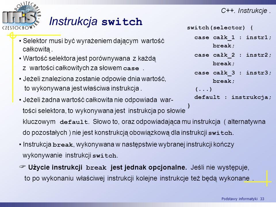 Instrukcja switch C++. Instrukcje .
