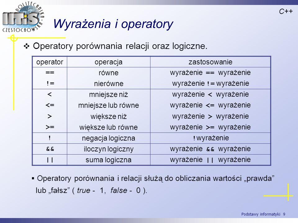 Wyrażenia i operatory Operatory porównania relacji oraz logiczne.