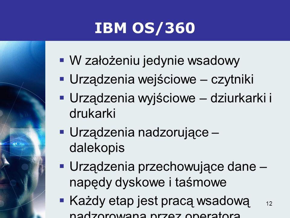 IBM OS/360 W założeniu jedynie wsadowy Urządzenia wejściowe – czytniki