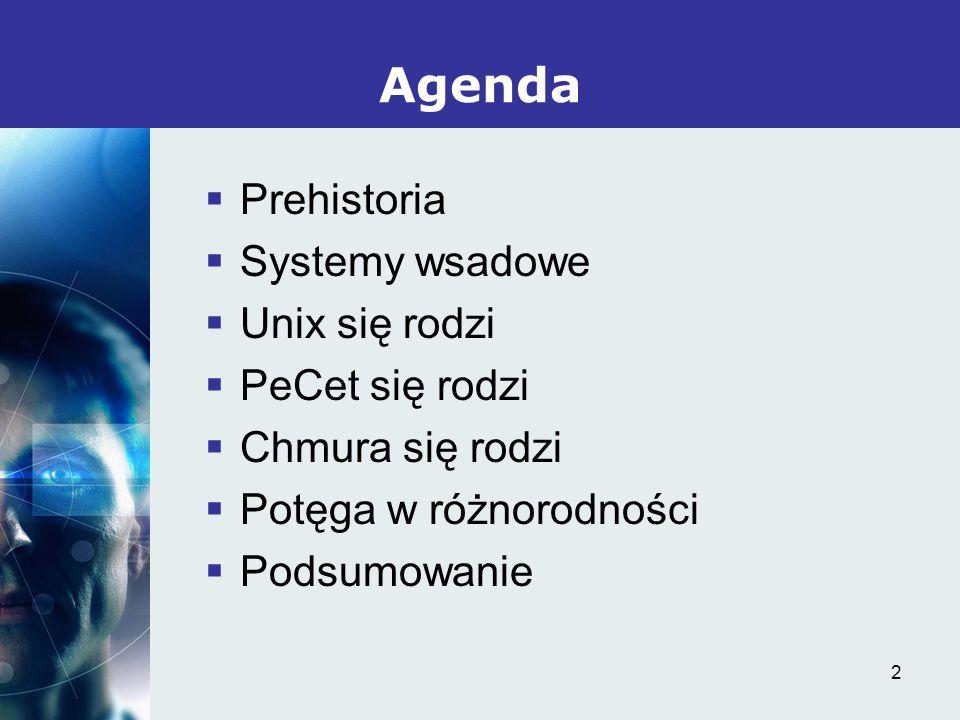 Agenda Prehistoria Systemy wsadowe Unix się rodzi PeCet się rodzi