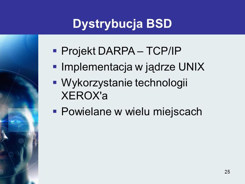 Dystrybucja BSD Projekt DARPA – TCP/IP Implementacja w jądrze UNIX