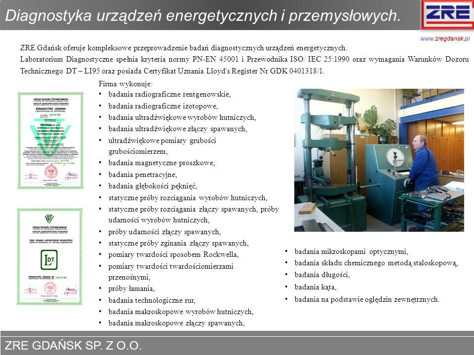 Diagnostyka urządzeń energetycznych i przemysłowych.
