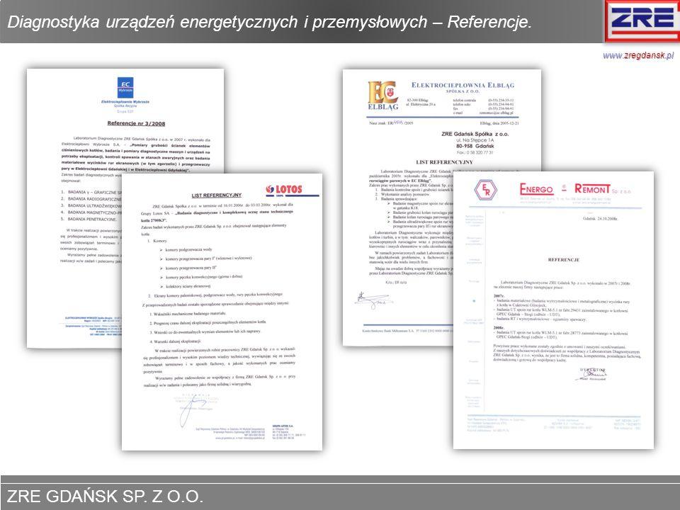 Diagnostyka urządzeń energetycznych i przemysłowych – Referencje.