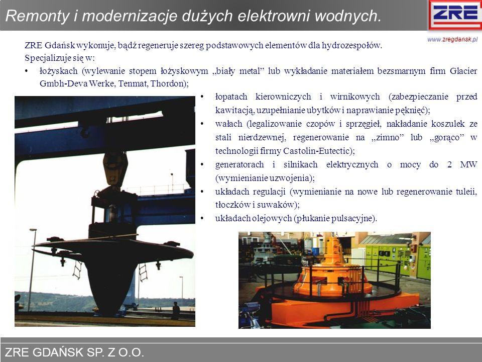 Remonty i modernizacje dużych elektrowni wodnych.