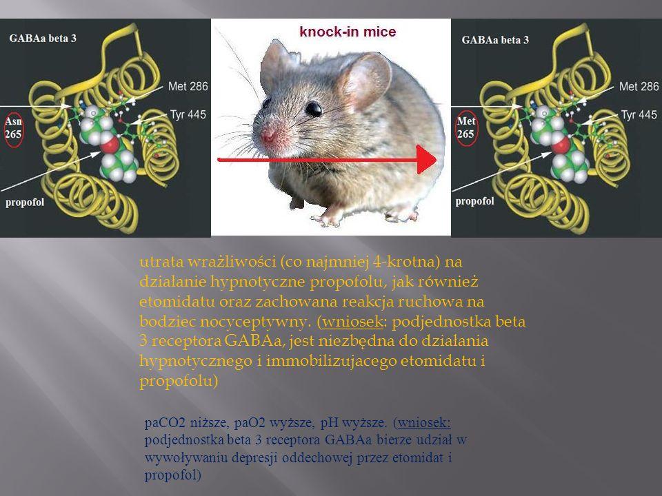 utrata wrażliwości (co najmniej 4-krotna) na działanie hypnotyczne propofolu, jak również etomidatu oraz zachowana reakcja ruchowa na bodziec nocyceptywny. (wniosek: podjednostka beta 3 receptora GABAa, jest niezbędna do działania hypnotycznego i immobilizujacego etomidatu i propofolu)