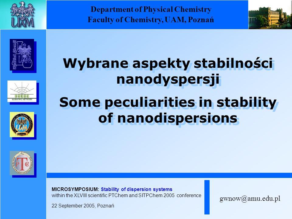 Wybrane aspekty stabilności nanodyspersji