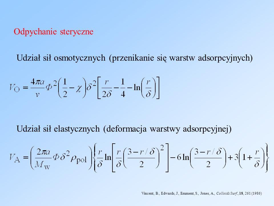 Udział sił osmotycznych (przenikanie się warstw adsorpcyjnych)