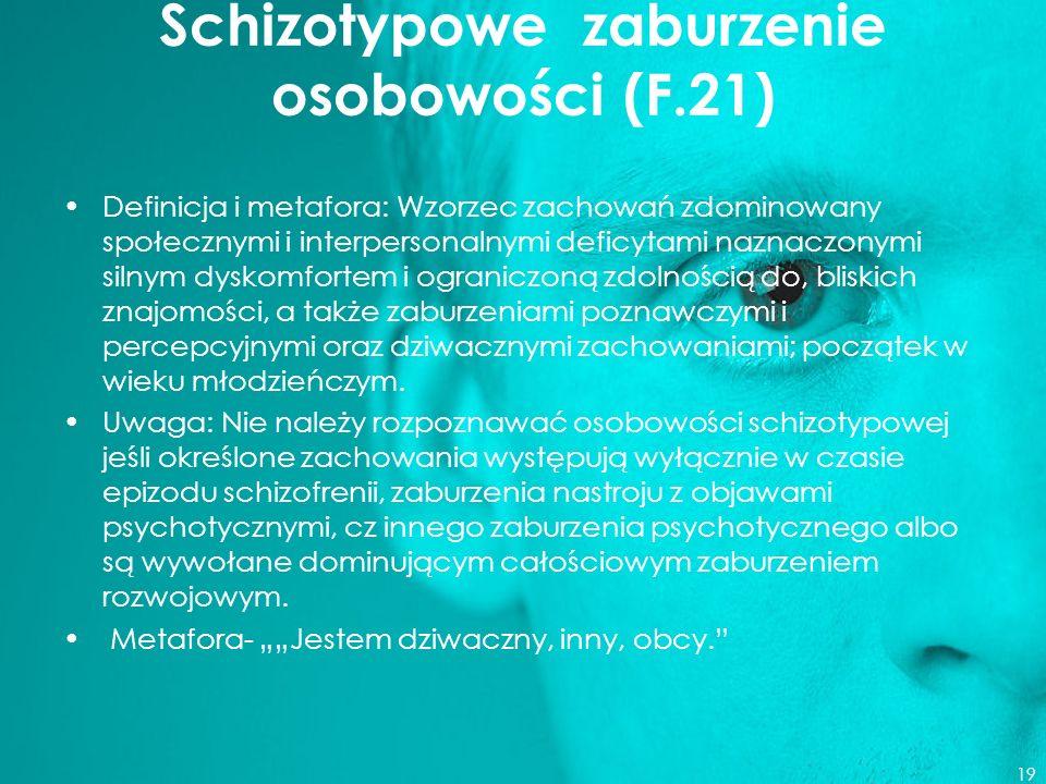 Schizotypowe zaburzenie osobowości (F.21)