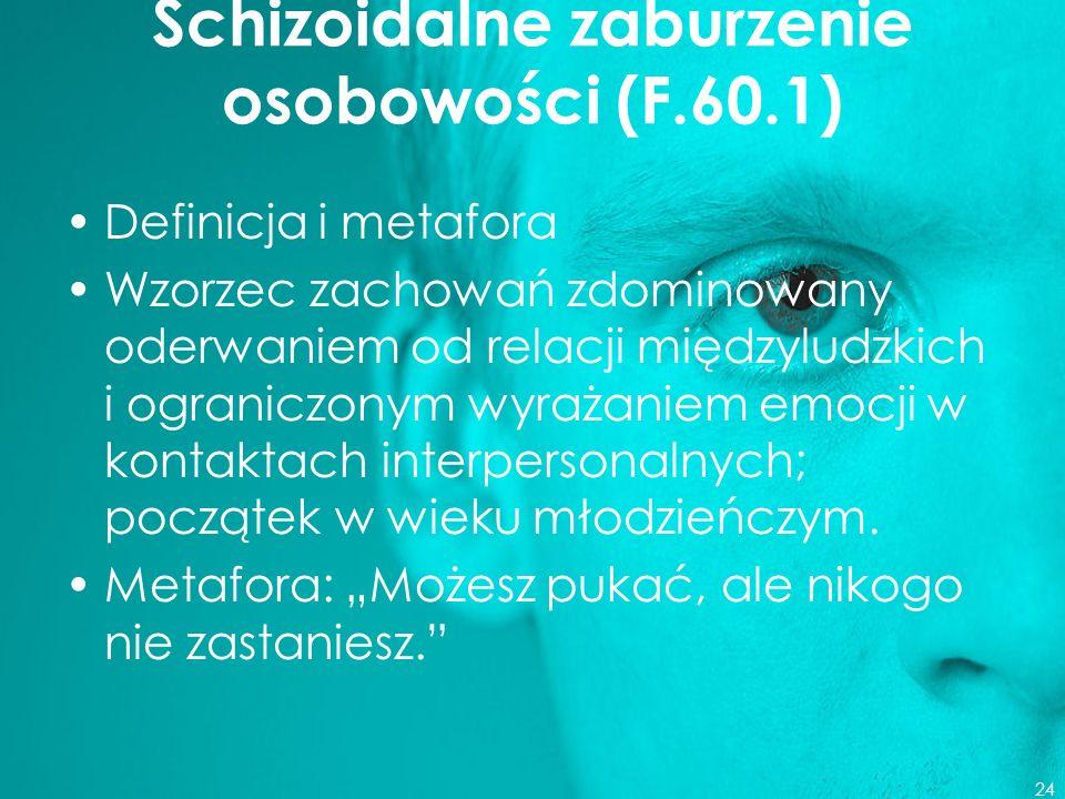 Schizoidalne zaburzenie osobowości (F.60.1)