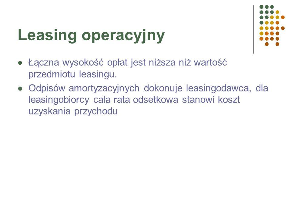 Leasing operacyjnyŁączna wysokość opłat jest niższa niż wartość przedmiotu leasingu.