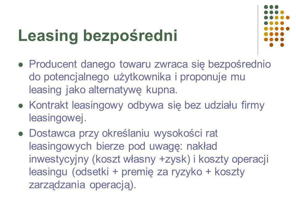 Leasing bezpośredniProducent danego towaru zwraca się bezpośrednio do potencjalnego użytkownika i proponuje mu leasing jako alternatywę kupna.