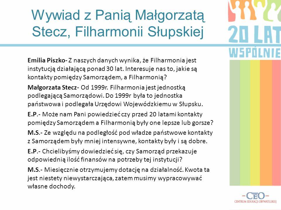 Wywiad z Panią Małgorzatą Stecz, Filharmonii Słupskiej