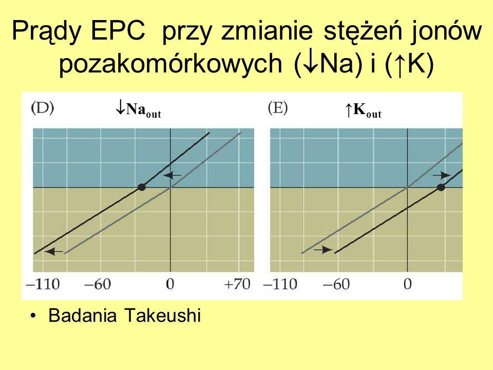 Prądy EPC przy zmianie stężeń jonów pozakomórkowych (Na) i (↑K)