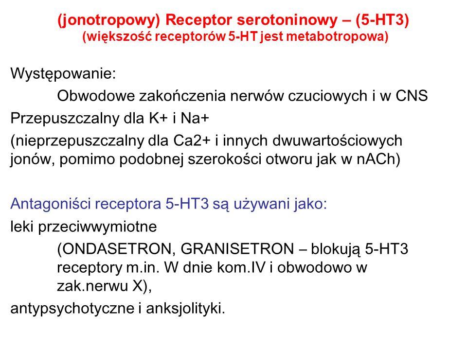 (jonotropowy) Receptor serotoninowy – (5-HT3) (większość receptorów 5-HT jest metabotropowa)