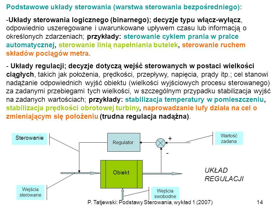 P. Tatjewski: Podstawy Sterowania, wykład 1 (2007)