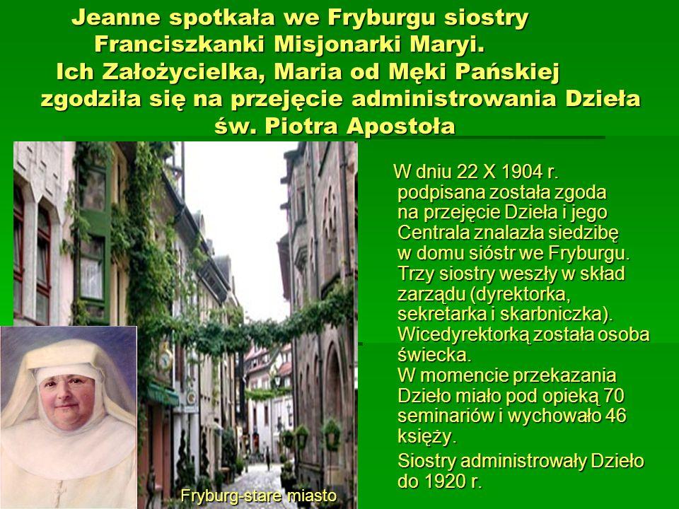 Jeanne spotkała we Fryburgu siostry Franciszkanki Misjonarki Maryi