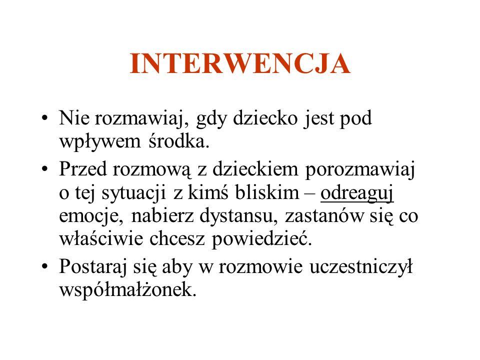 INTERWENCJA Nie rozmawiaj, gdy dziecko jest pod wpływem środka.