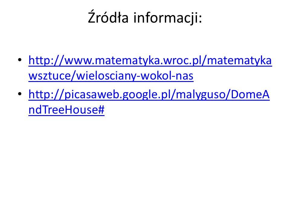 Źródła informacji: http://www.matematyka.wroc.pl/matematykawsztuce/wielosciany-wokol-nas.