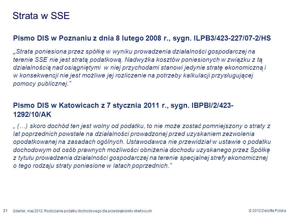 Strata w SSE Pismo DIS w Poznaniu z dnia 8 lutego 2008 r., sygn. ILPB3/423-227/07-2/HS.