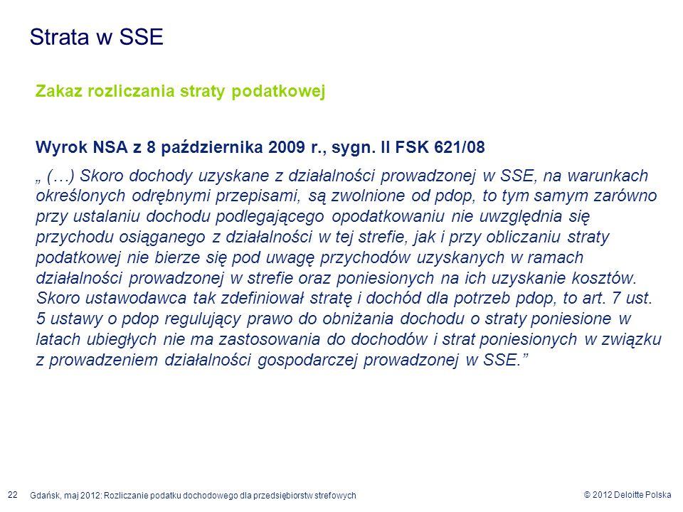 Strata w SSE Zakaz rozliczania straty podatkowej