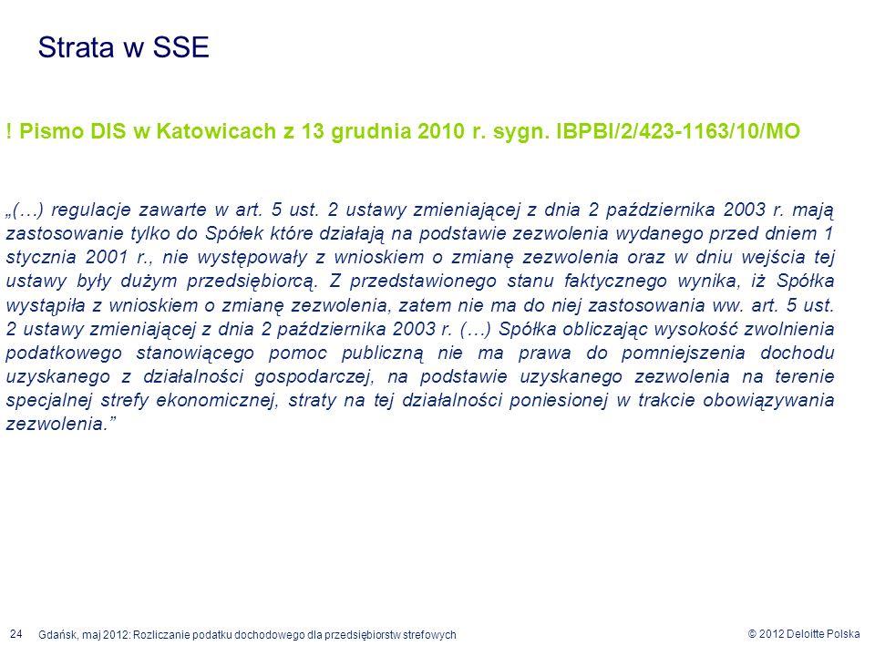 Strata w SSE ! Pismo DIS w Katowicach z 13 grudnia 2010 r. sygn. IBPBI/2/423-1163/10/MO.