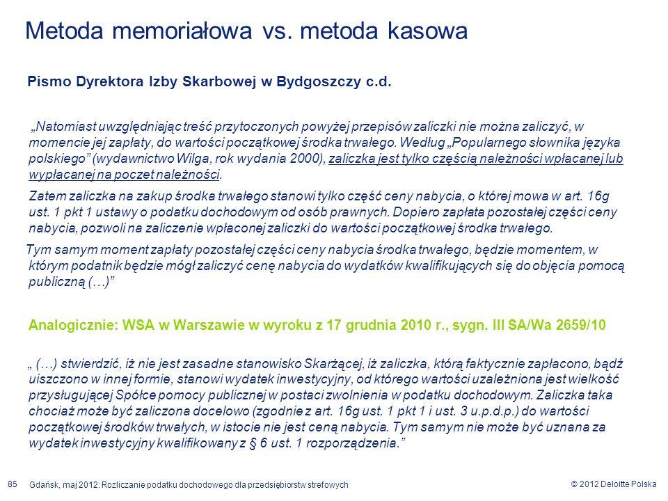 Metoda memoriałowa vs. metoda kasowa