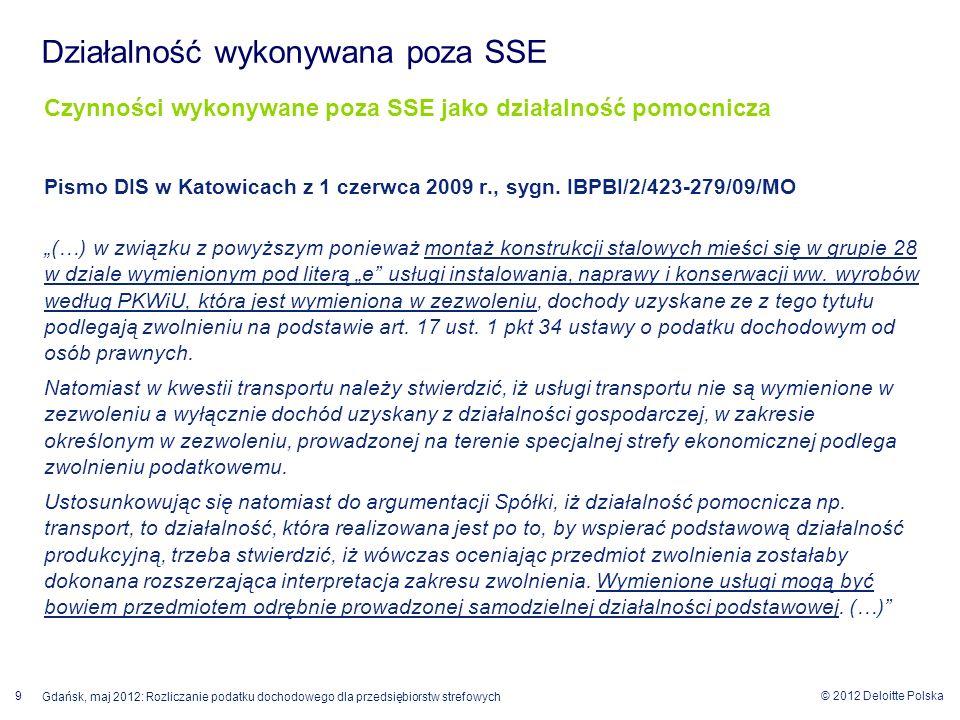Działalność wykonywana poza SSE