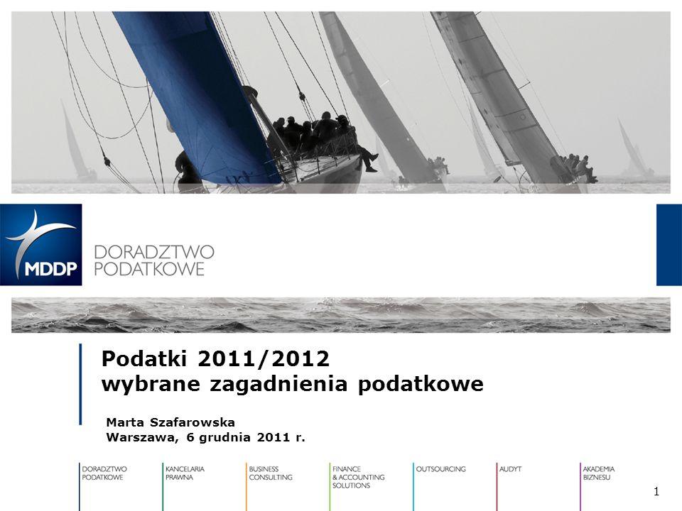 Podatki 2011/2012 wybrane zagadnienia podatkowe