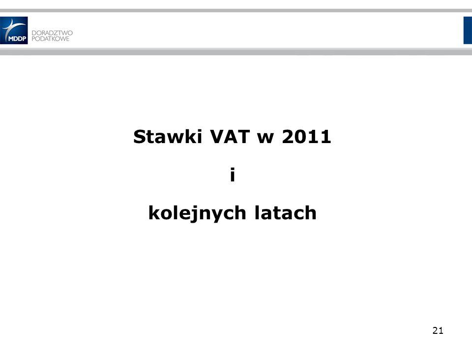 Stawki VAT w 2011 i kolejnych latach