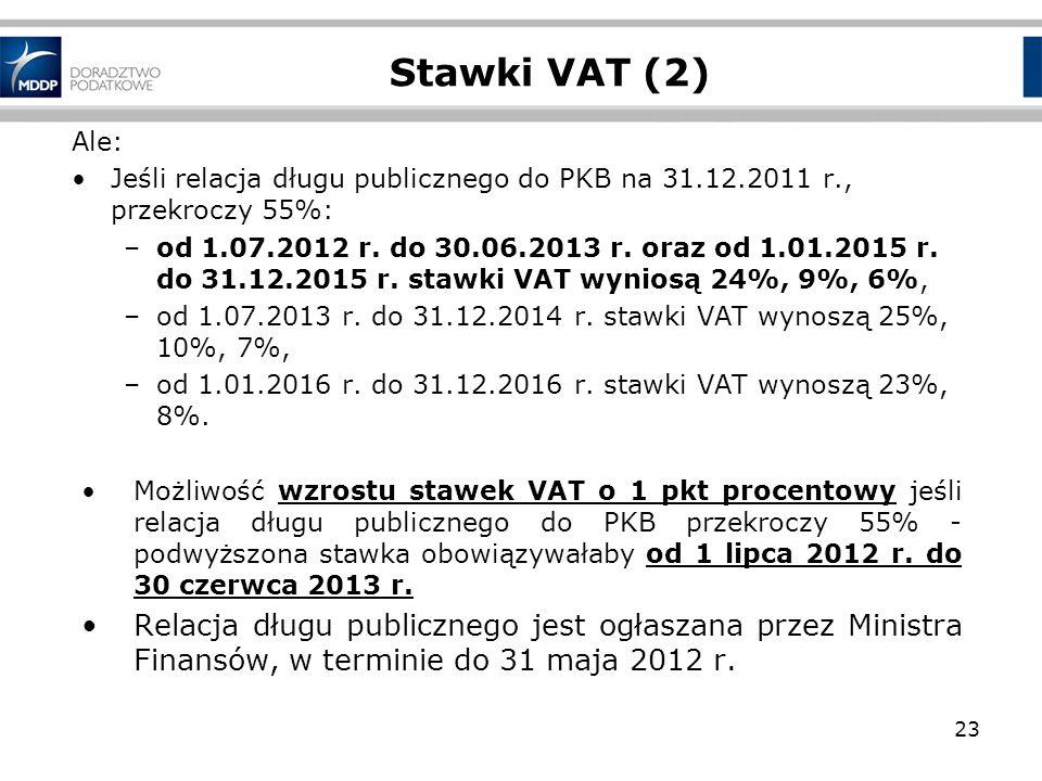 Stawki VAT (2) Ale: Jeśli relacja długu publicznego do PKB na 31.12.2011 r., przekroczy 55%: