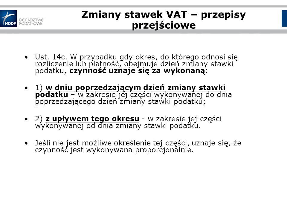 Zmiany stawek VAT – przepisy przejściowe