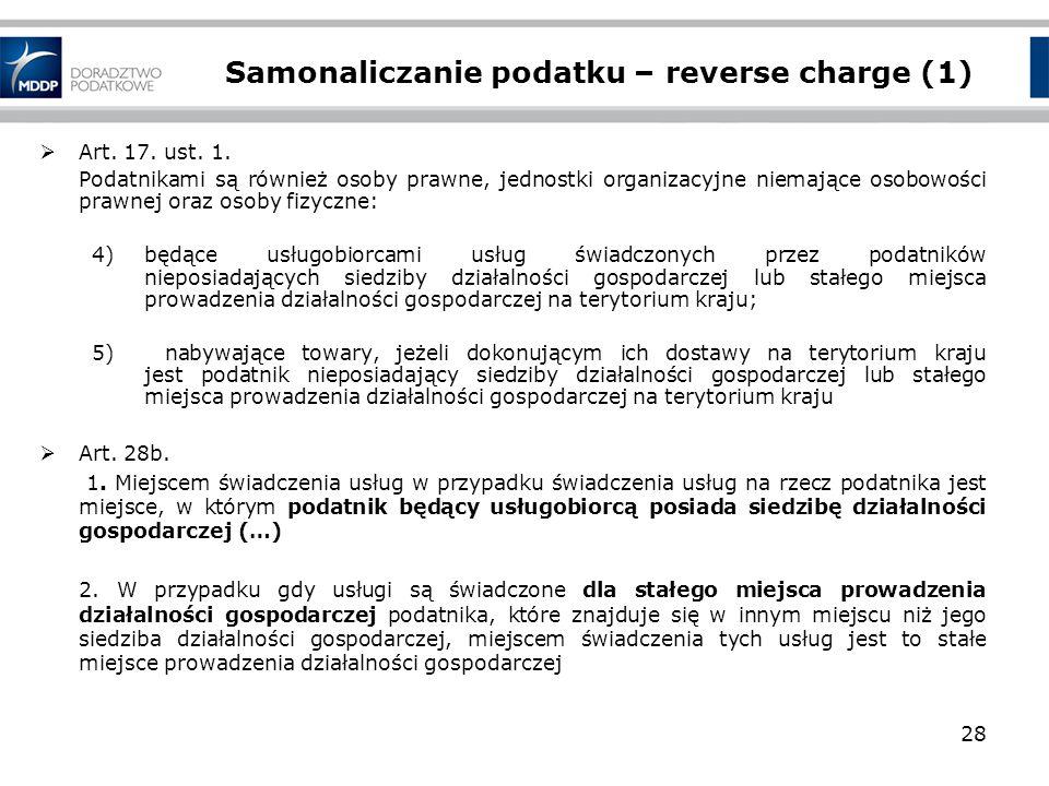 Samonaliczanie podatku – reverse charge (1)